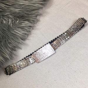 Vintage stretch silver fish scale belt